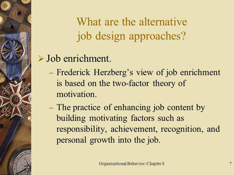 Organizational Behavior: Chapter 87 What are the alternative job design approaches.