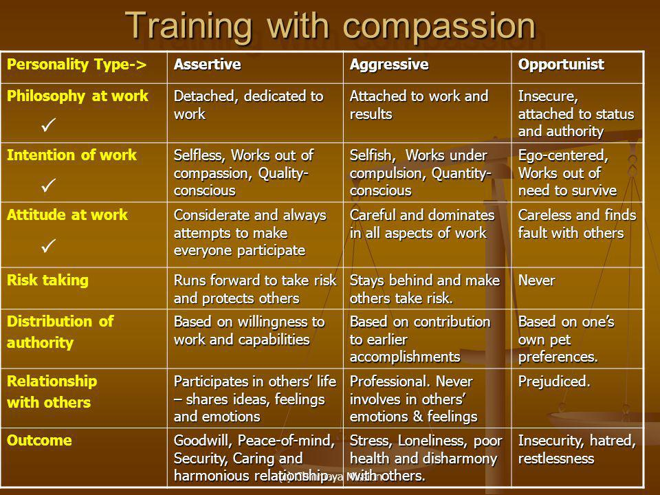 (c) Chinmaya Mission Training with compassion Personality Type->AssertiveAggressiveOpportunist Philosophy at work Detached, dedicated to work Attached