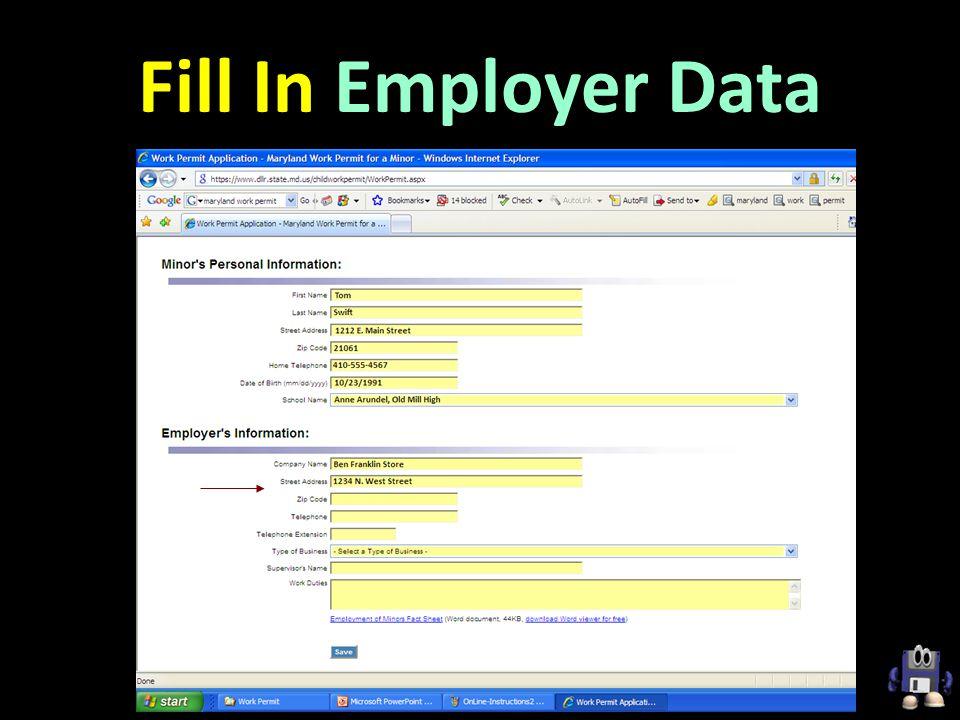 Fill In Employer Data