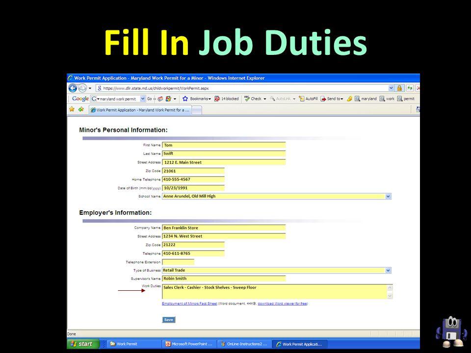 Fill In Job Duties