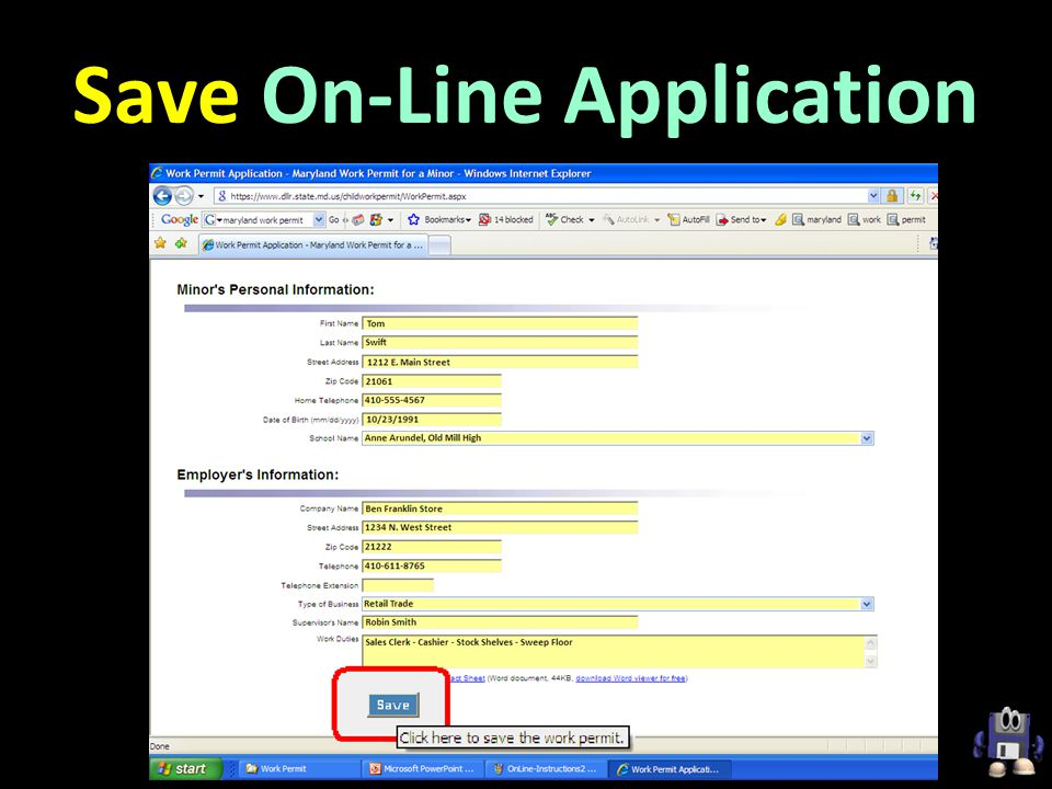 Save On-Line Application
