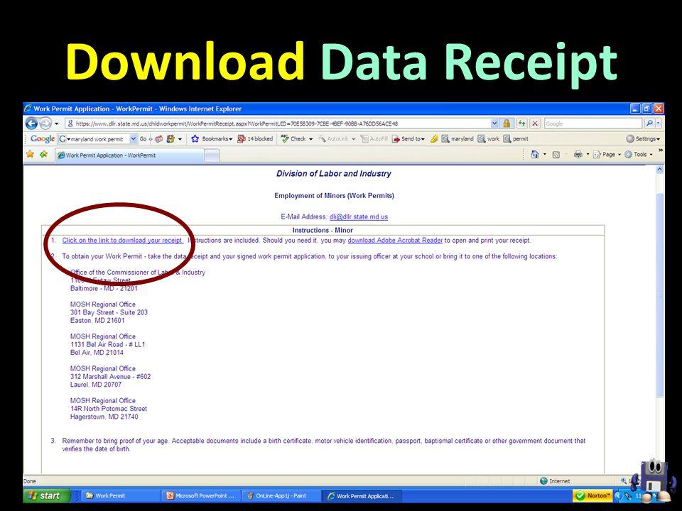 Download Data Receipt