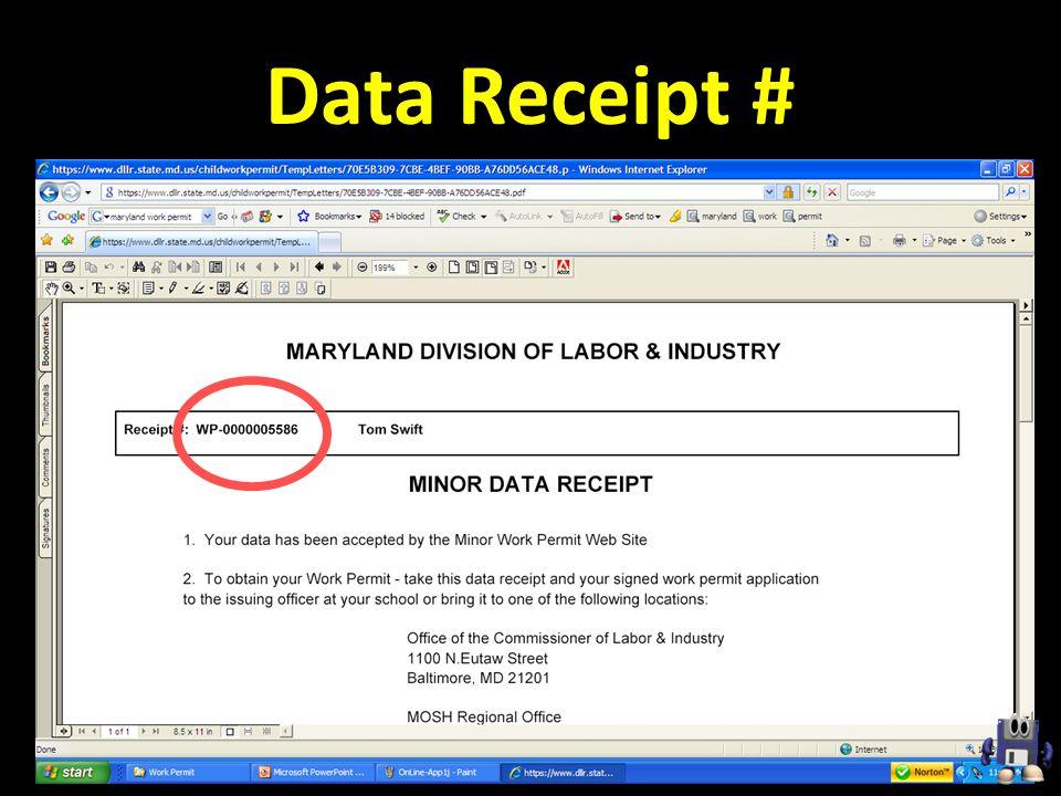 Data Receipt #