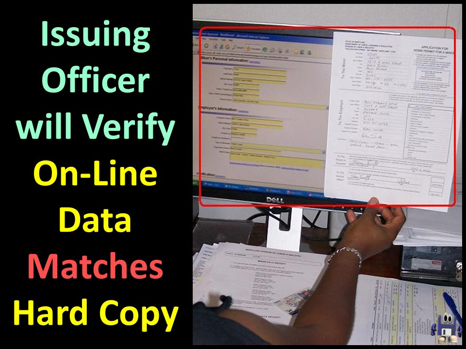 Issuing Officer will Verify On-Line Data Matches Hard Copy