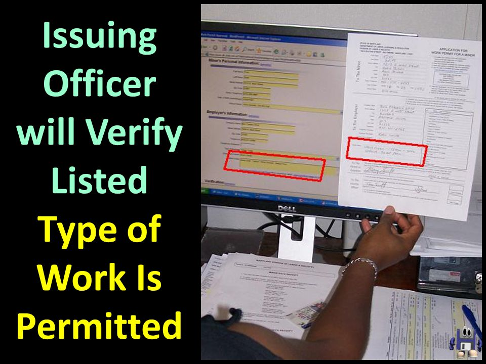 Issuing Officer will Verify Listed Type of Work Is Permitted