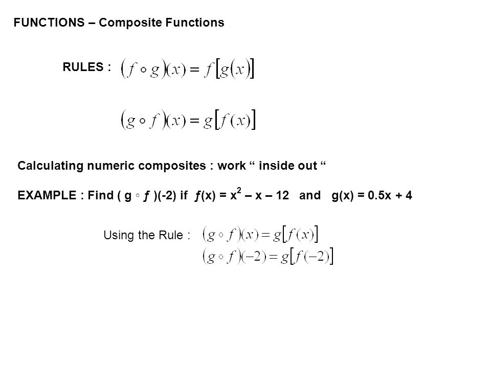 FUNCTIONS – Composite Functions RULES : Calculating numeric composites : work inside out EXAMPLE : Find ( g ƒ )(-2) if ƒ(x) = x 2 – x – 12 and g(x) =