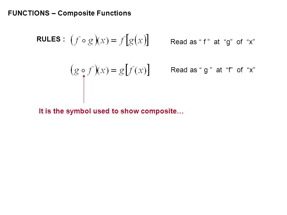 FUNCTIONS – Composite Functions RULES : Read as f at g of x Read as g at f of x It is the symbol used to show composite…