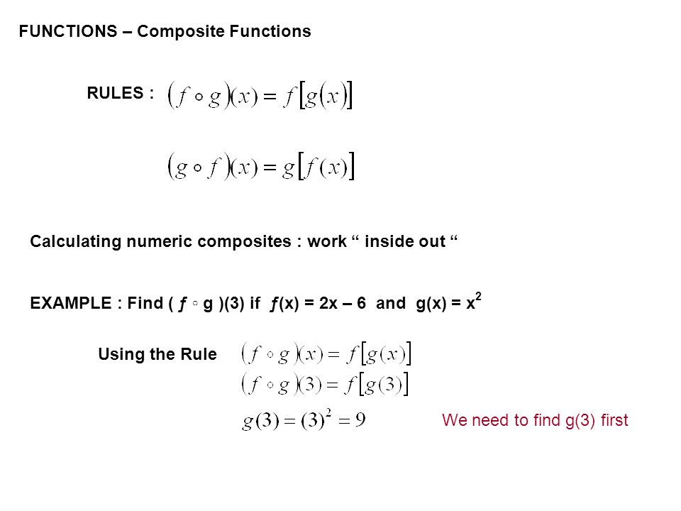 FUNCTIONS – Composite Functions RULES : Calculating numeric composites : work inside out EXAMPLE : Find ( ƒ g )(3) if ƒ(x) = 2x – 6 and g(x) = x 2 Using the Rule We need to find g(3) first