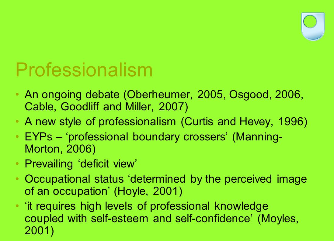 Professional identity Cultural construct Agency and esteem central to the concept of self and construction of ones identity – relational view (Bruner, 1996) Belonging to and participating in a community of practice helps form a persons identity (Wenger, 1998) How do new EYPs evaluate the EYP role and validation process.