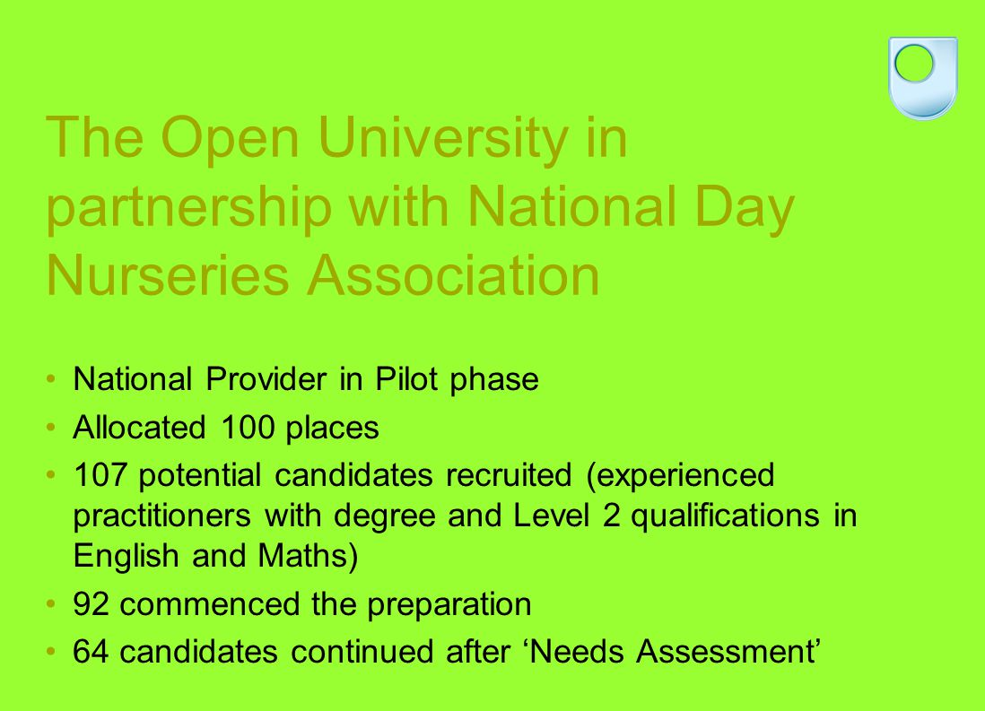 The Open University in partnership with National Day Nurseries Association National Provider in Pilot phase Allocated 100 places 107 potential candida
