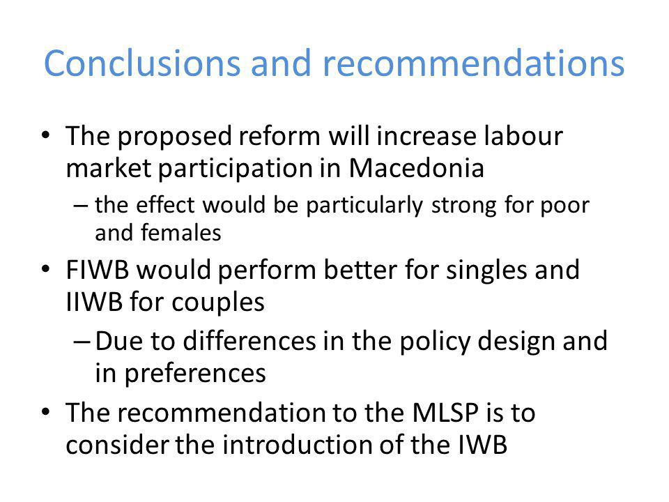 Conclusions and recommendations The proposed reform will increase labour market participation in Macedonia – the effect would be particularly strong for poor and females FIWB would perform better for singles and IIWB for couples – Due to differences in the policy design and in preferences The recommendation to the MLSP is to consider the introduction of the IWB