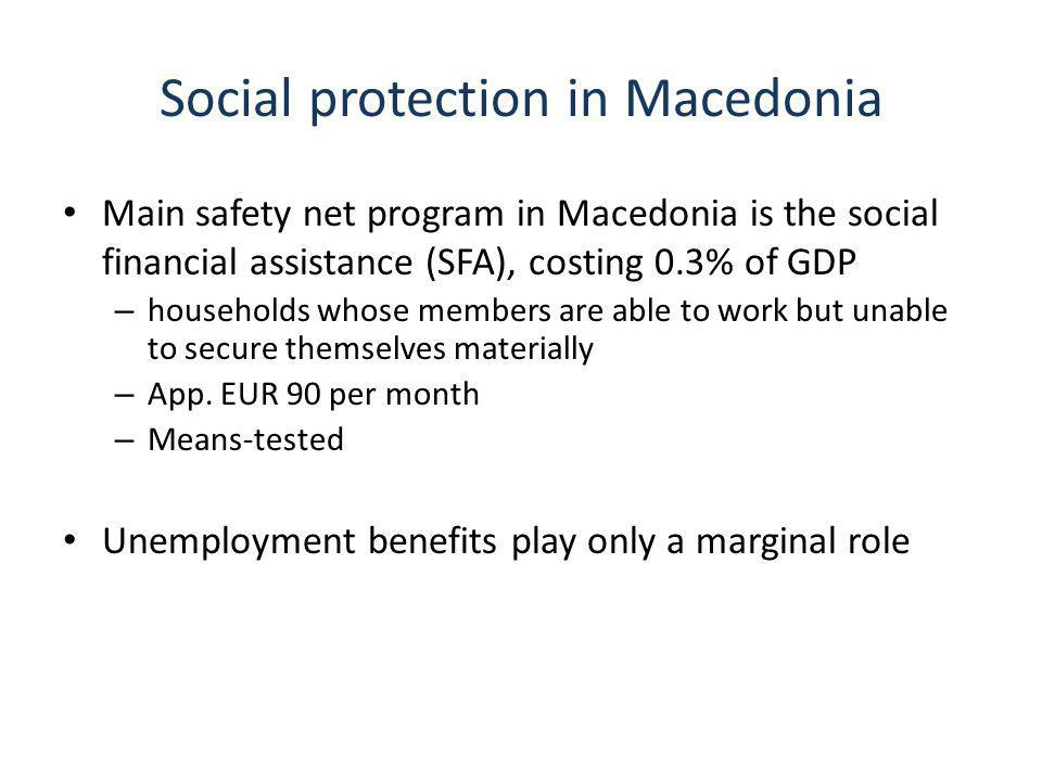 Social protection in Macedonia Main safety net program in Macedonia is the social financial assistance (SFA), costing 0.3% of GDP – households whose members are able to work but unable to secure themselves materially – App.