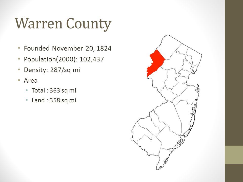 Warren County Founded November 20, 1824 Population(2000): 102,437 Density: 287/sq mi Area Total : 363 sq mi Land : 358 sq mi