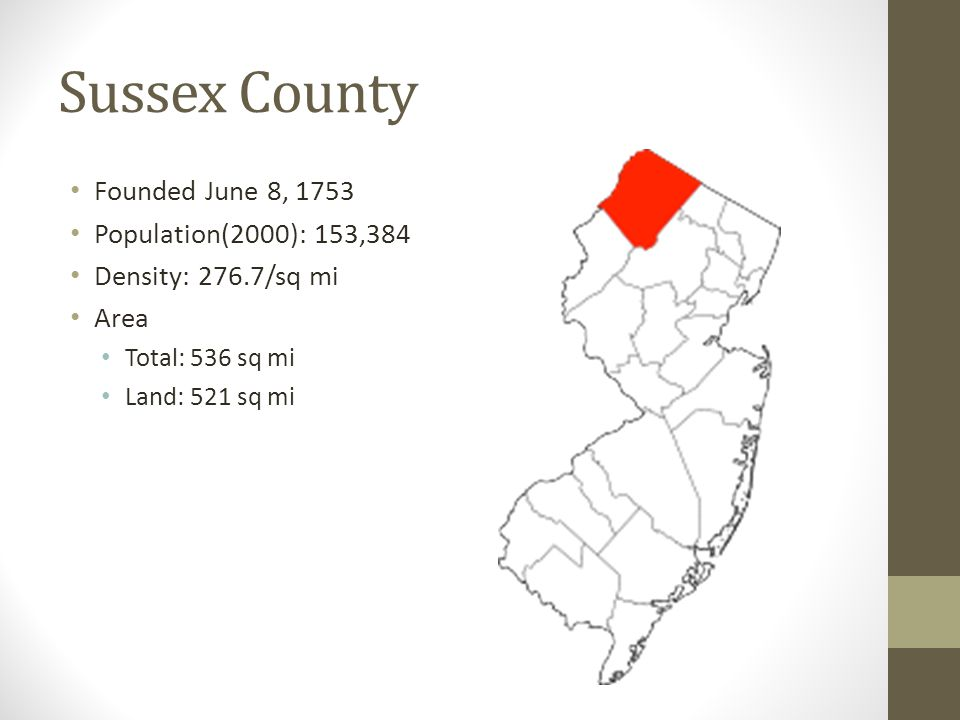 Sussex County Founded June 8, 1753 Population(2000): 153,384 Density: 276.7/sq mi Area Total: 536 sq mi Land: 521 sq mi