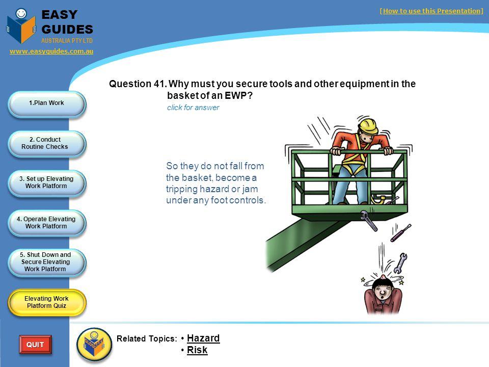 1.Plan Work 2. Conduct Routine Checks 3. Set up Elevating Work Platform 4. Operate Elevating Work Platform 5. Shut Down and Secure Elevating Work Plat
