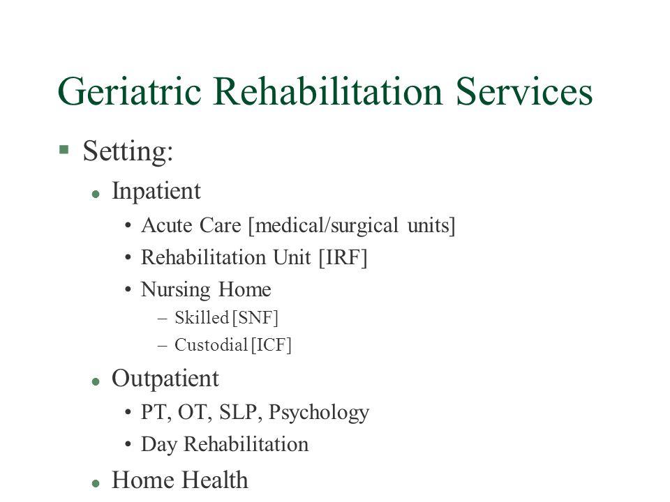 Summary §Complexity of geriatric care lends itself to interdisciplinary team management.