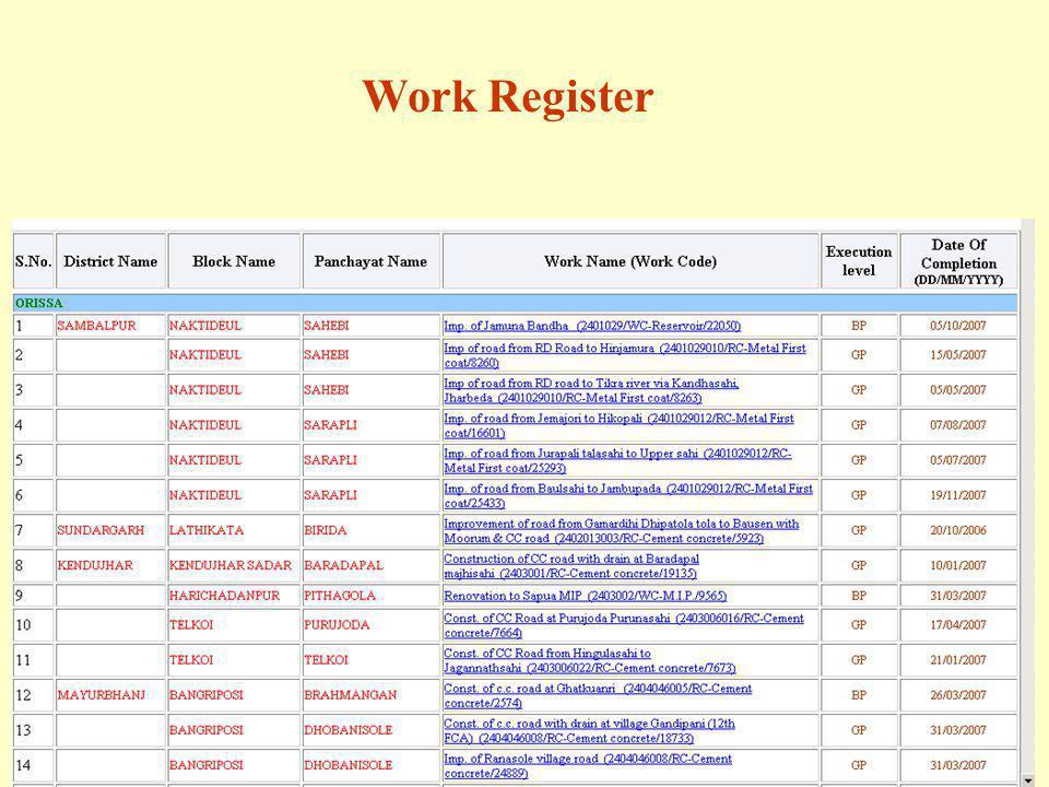 Work Register