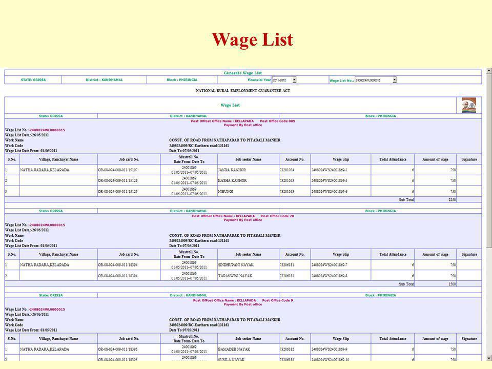 Wage List