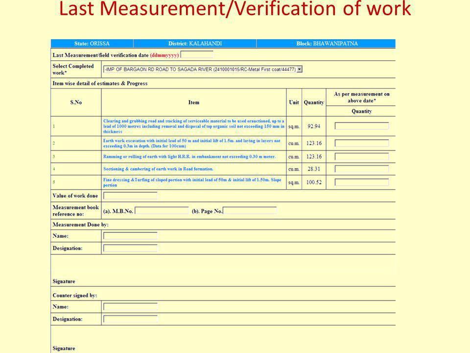 Last Measurement/Verification of work