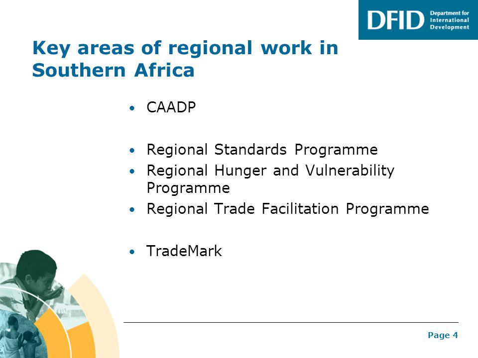 Page 4 Key areas of regional work in Southern Africa CAADP Regional Standards Programme Regional Hunger and Vulnerability Programme Regional Trade Fac