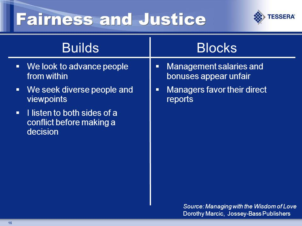 16 Fairness and Justice We look to advance people from within We seek diverse people and viewpoints I listen to both sides of a conflict before making a decision Management salaries and bonuses appear unfair Managers favor their direct reports BuildsBlocks Source: Managing with the Wisdom of Love Dorothy Marcic, Jossey-Bass Publishers