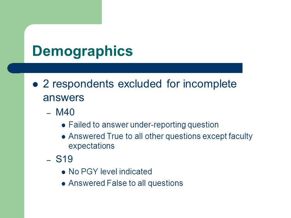 Demographics 2 respondents excluded for incomplete answers – M40 Failed to answer under-reporting question Answered True to all other questions except
