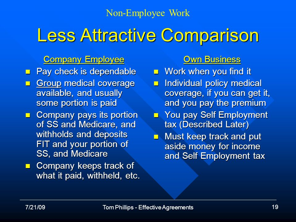 Non-Employee Work 7/21/09Tom Phillips - Effective Agreements 19 Less Attractive Comparison Company Employee Pay check is dependable Pay check is dependable Group medical coverage available, and usually some portion is paid Group medical coverage available, and usually some portion is paid Company pays its portion of SS and Medicare, and withholds and deposits FIT and your portion of SS, and Medicare Company pays its portion of SS and Medicare, and withholds and deposits FIT and your portion of SS, and Medicare Company keeps track of what it paid, withheld, etc.