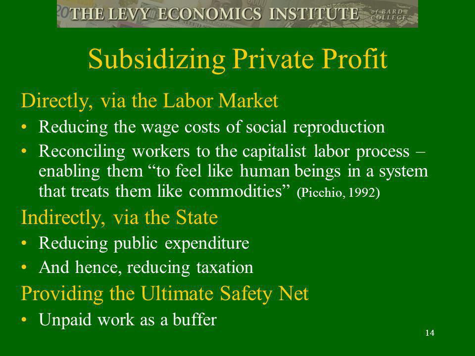 14 Subsidizing Private Profit Directly, via the Labor Market Reducing the wage costs of social reproduction Reconciling workers to the capitalist labor process – enabling them to feel like human beings in a system that treats them like commodities (Picchio, 1992) Indirectly, via the State Reducing public expenditure And hence, reducing taxation Providing the Ultimate Safety Net Unpaid work as a buffer
