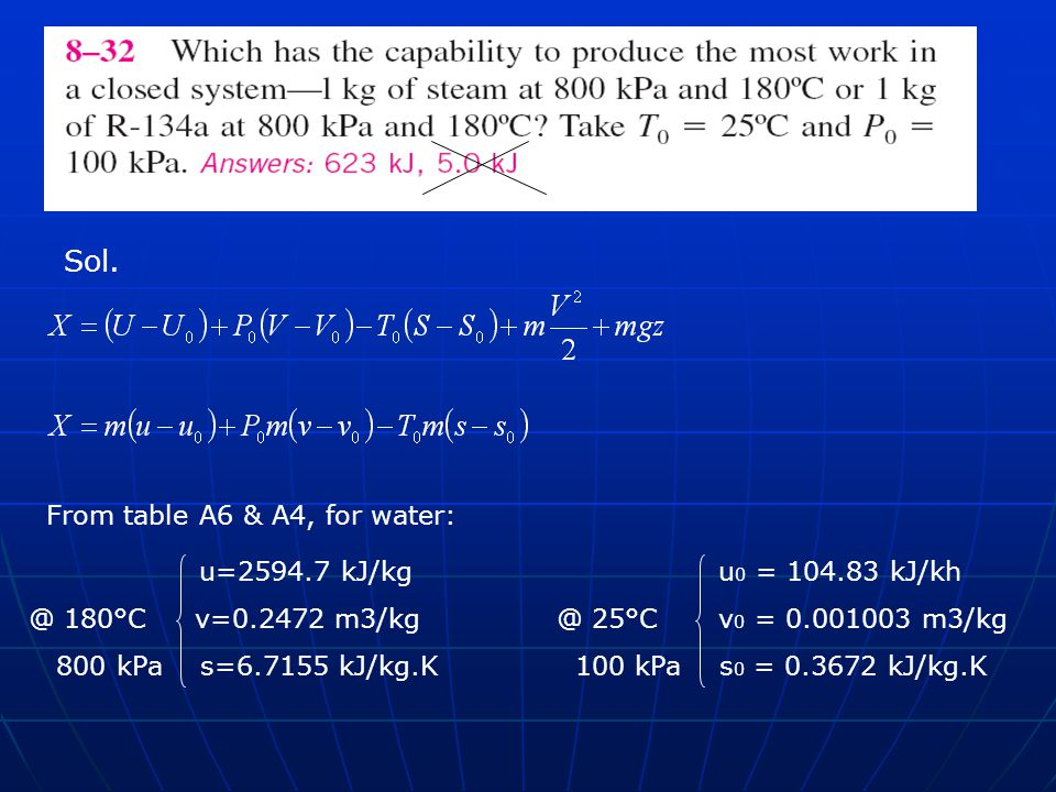 Sol. From table A6 & A4, for water: u=2594.7 kJ/kg u 0 = 104.83 kJ/kh @ 180°C v=0.2472 m3/kg@ 25°C v 0 = 0.001003 m3/kg 800 kPa s=6.7155 kJ/kg.K 100 k