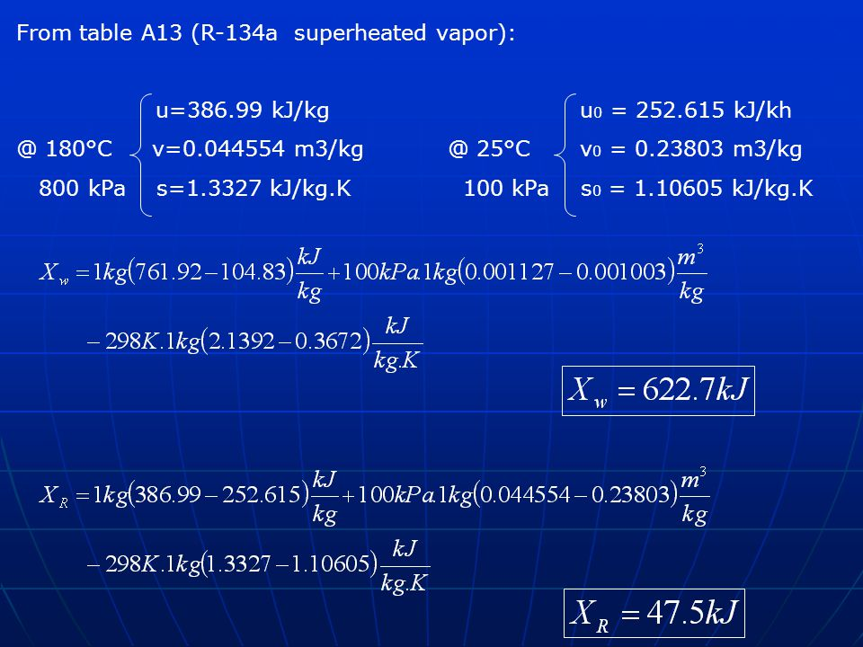 From table A13 (R-134a superheated vapor): u=386.99 kJ/kg u 0 = 252.615 kJ/kh @ 180°C v=0.044554 m3/kg@ 25°C v 0 = 0.23803 m3/kg 800 kPa s=1.3327 kJ/k