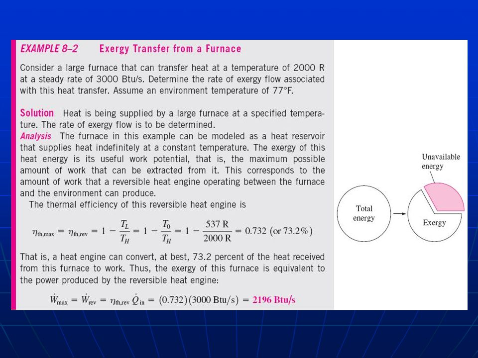 Exergy Balance Open System Notice that now we are including the exergy entering and leaving with mass, then: (kJ) In rate form: Fortunately we usually have to deal with steady flow devices, then our equation becomes: (kW)