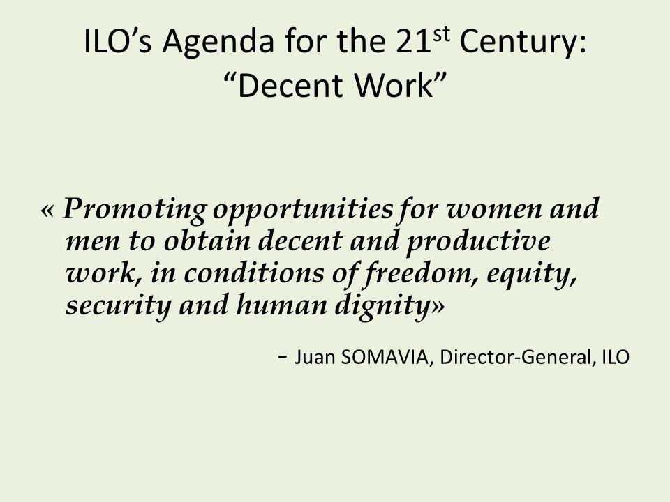 « Promoting opportunities for women and men to obtain decent and productive work, in conditions of freedom, equity, security and human dignity» - Juan SOMAVIA, Director-General, ILO ILOs Agenda for the 21 st Century: Decent Work