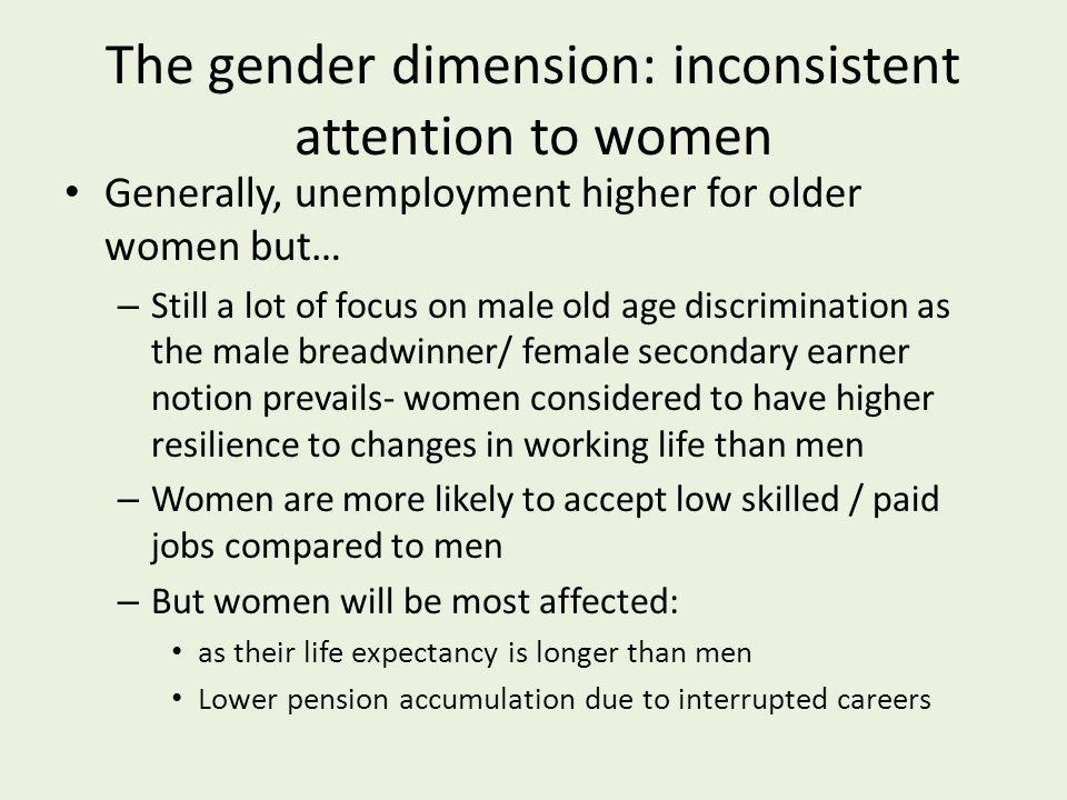 The gender dimension: inconsistent attention to women Generally, unemployment higher for older women but… – Still a lot of focus on male old age discr