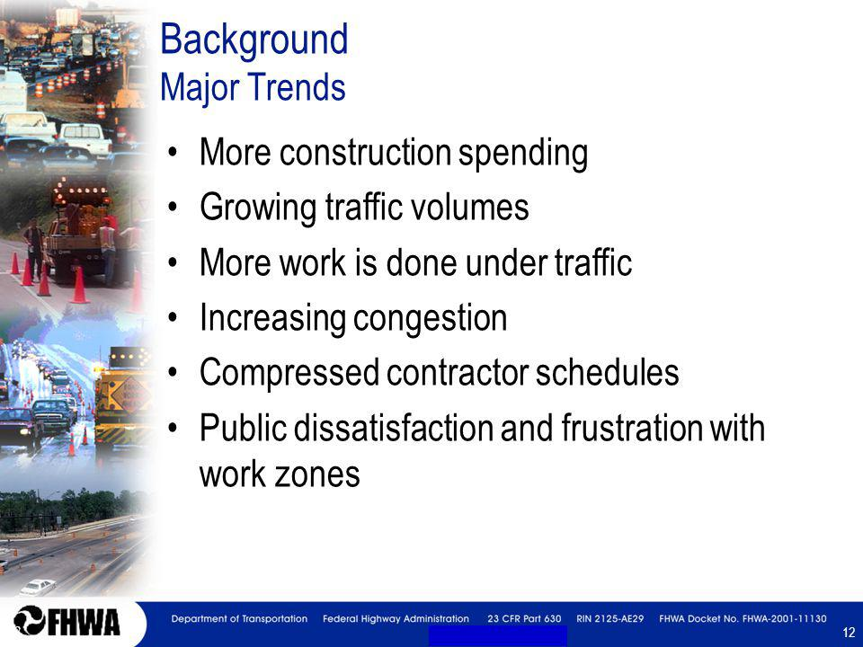 12 Background Major Trends More construction spending Growing traffic volumes More work is done under traffic Increasing congestion Compressed contrac