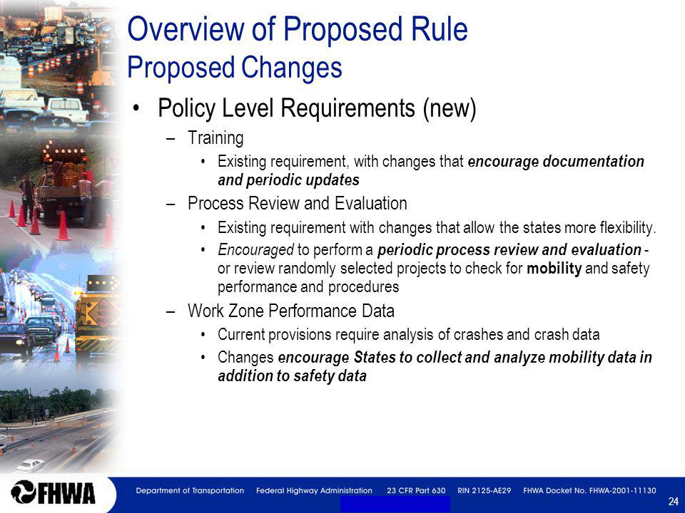 24 Overview of Proposed Rule Proposed Changes Policy Level Requirements (new) –Training Existing requirement, with changes that encourage documentation and periodic updates –Process Review and Evaluation Existing requirement with changes that allow the states more flexibility.