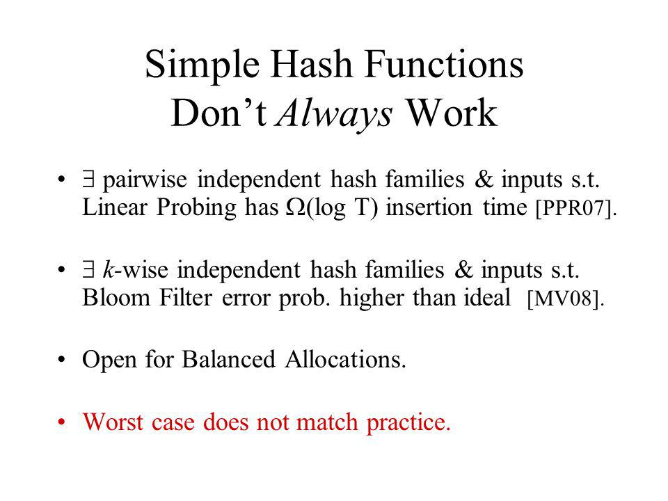 Simple Hash Functions Dont Always Work pairwise independent hash families & inputs s.t.