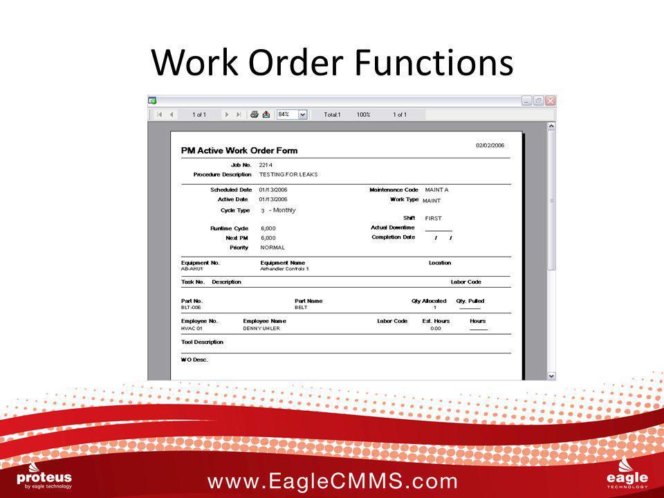 Work Order Functions