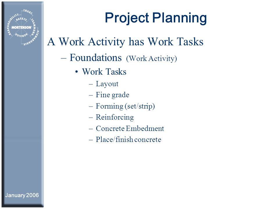 January 2006 Project Planning A Work Activity has Work Tasks –Foundations (Work Activity) Work Tasks –Layout –Fine grade –Forming (set/strip) –Reinfor