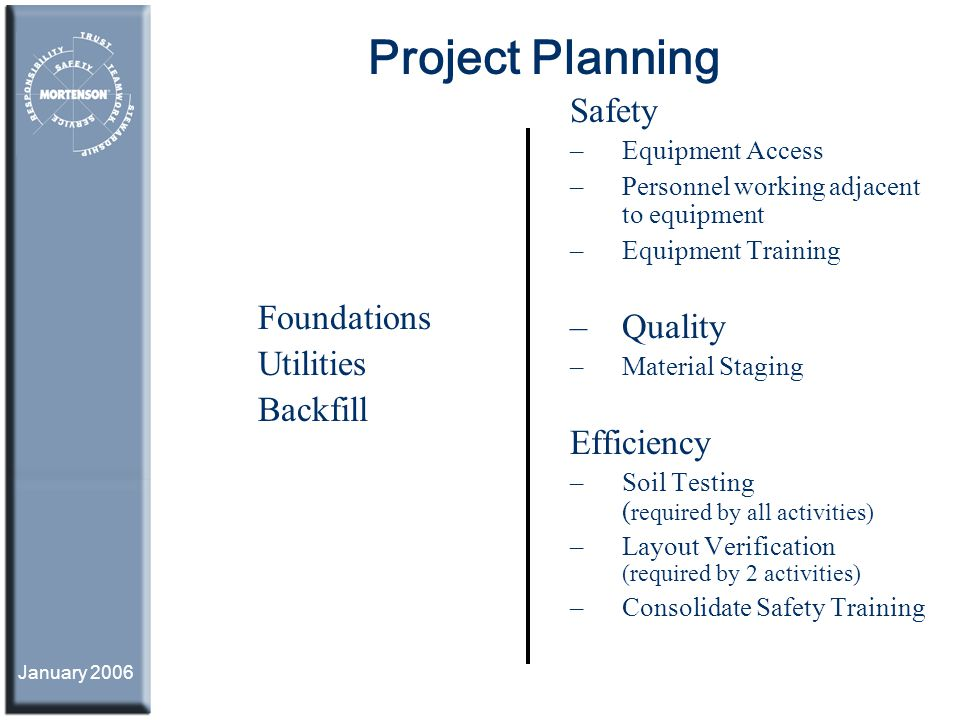January 2006 Project Planning Foundations Utilities Backfill Safety – Equipment Access – Personnel working adjacent to equipment – Equipment Training