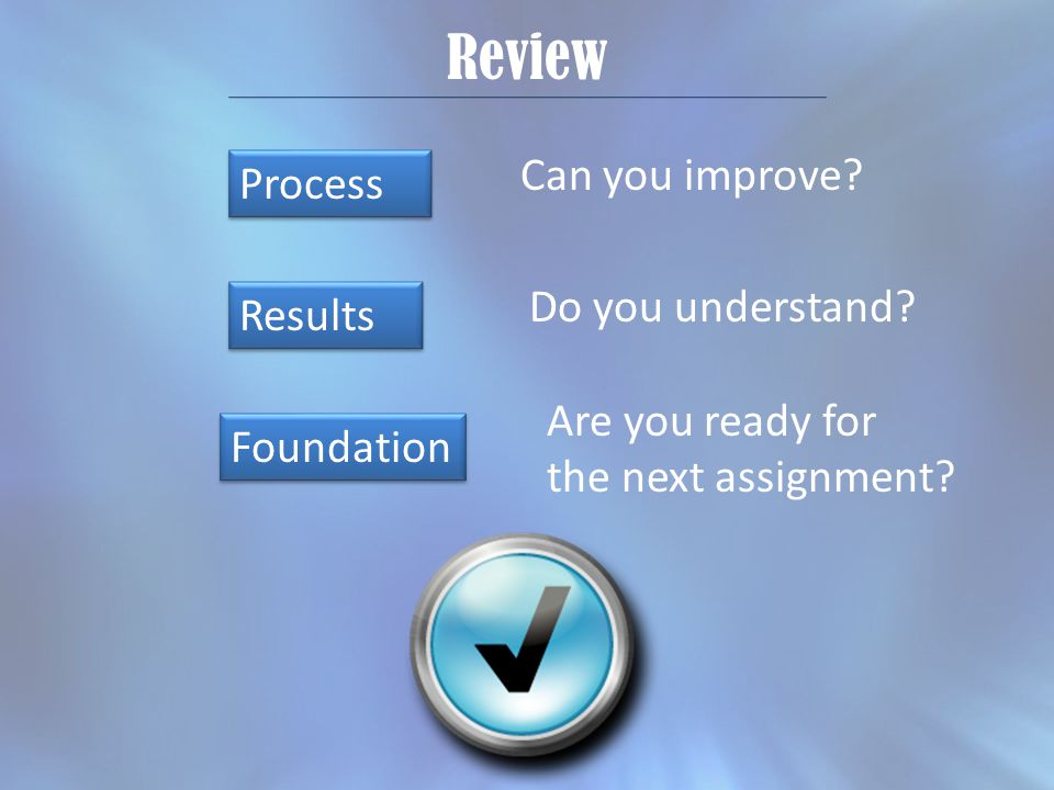 Review Process Results Foundation Can you improve.