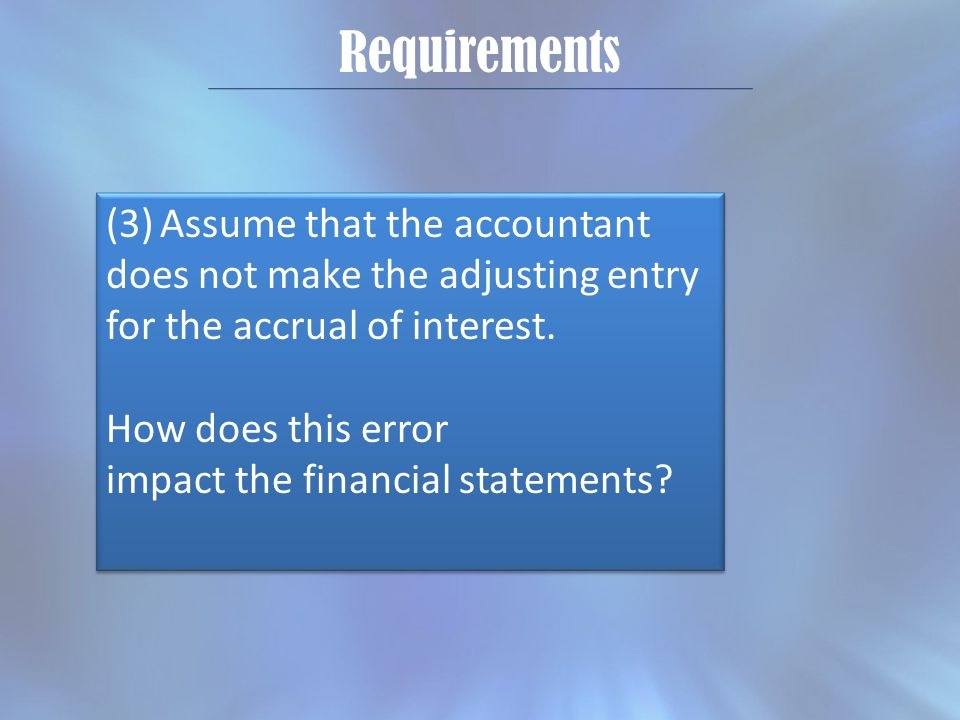 Requirements (3)Assume that the accountant does not make the adjusting entry for the accrual of interest.