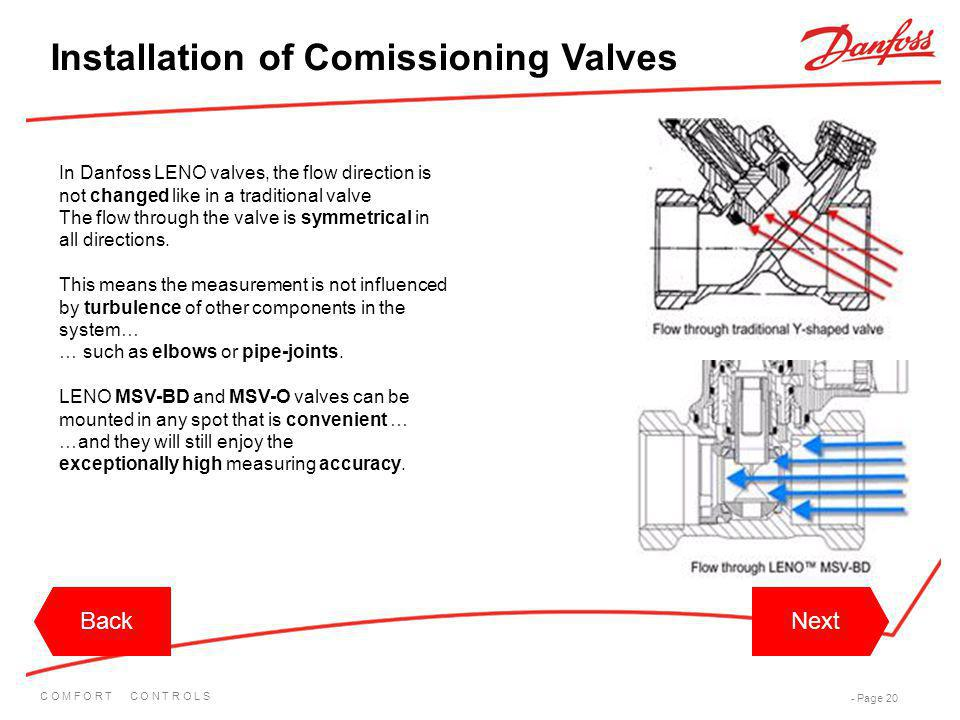 C O M F O R T C O N T R O L S - Page 20 BackNextBackNext In Danfoss LENO valves, the flow direction is not changed like in a traditional valve The flo