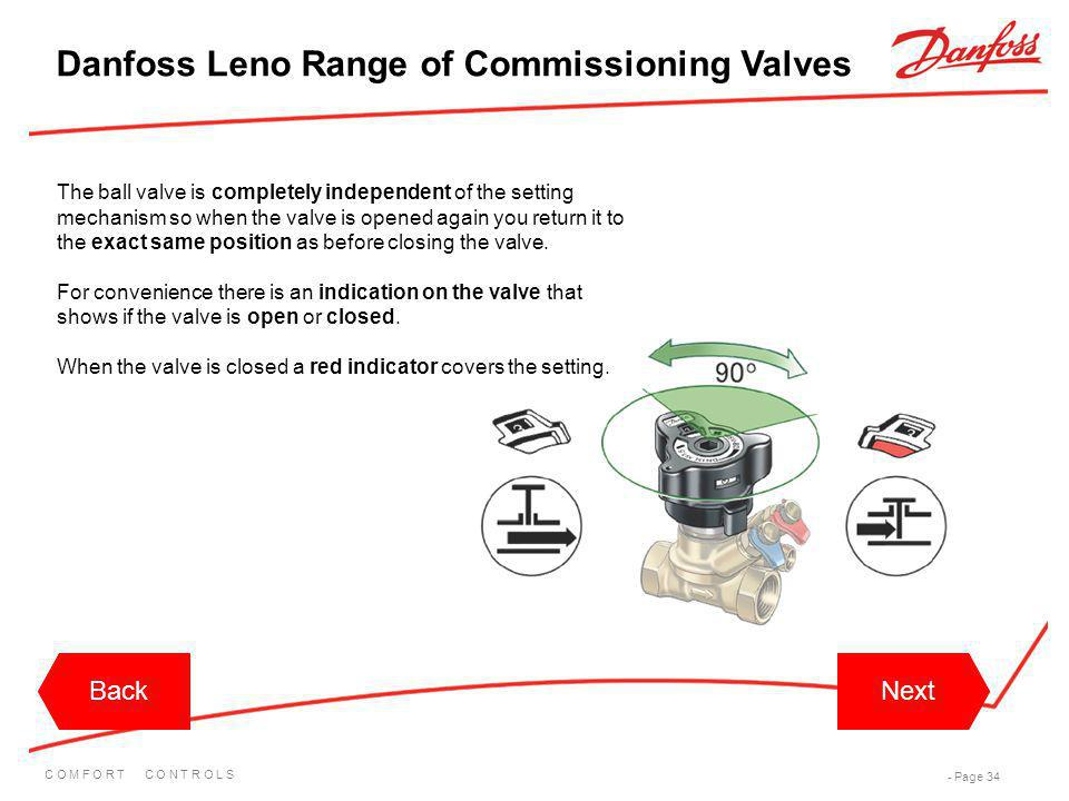 C O M F O R T C O N T R O L S - Page 34 BackNextBackNext Danfoss Leno Range of Commissioning Valves The ball valve is completely independent of the se