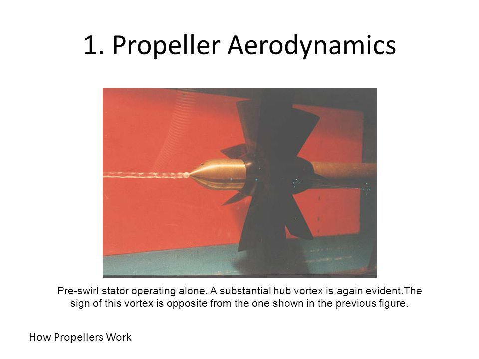 1. Propeller Aerodynamics How Propellers Work Pre-swirl stator operating alone. A substantial hub vortex is again evident.The sign of this vortex is o