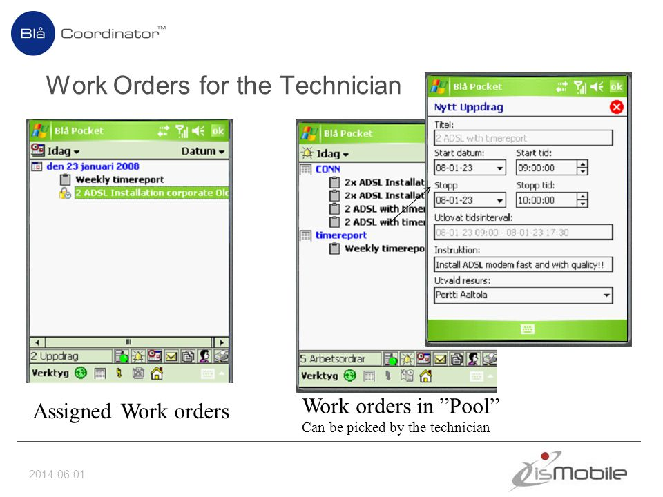 Work Orders for the Technician 2014-06-01 Assigned Work orders Work orders in Pool Can be picked by the technician