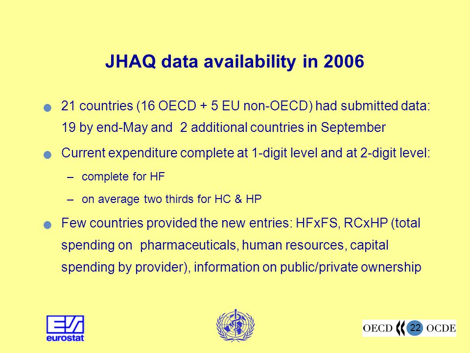 22 JHAQ data availability in 2006 21 countries (16 OECD + 5 EU non-OECD) had submitted data: 19 by end-May and 2 additional countries in September Current expenditure complete at 1-digit level and at 2-digit level: –complete for HF –on average two thirds for HC & HP Few countries provided the new entries: HFxFS, RCxHP (total spending on pharmaceuticals, human resources, capital spending by provider), information on public/private ownership