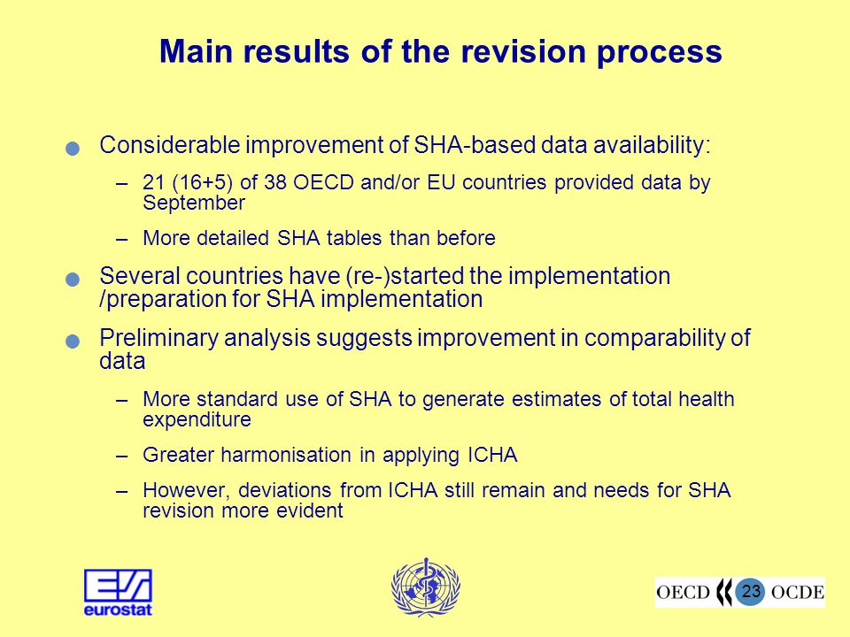23 Main results of the revision process Considerable improvement of SHA-based data availability: –21 (16+5) of 38 OECD and/or EU countries provided da