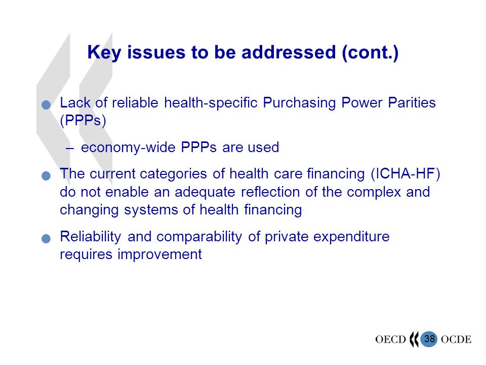 38 Key issues to be addressed (cont.) Lack of reliable health-specific Purchasing Power Parities (PPPs) –economy-wide PPPs are used The current categories of health care financing (ICHA-HF) do not enable an adequate reflection of the complex and changing systems of health financing Reliability and comparability of private expenditure requires improvement