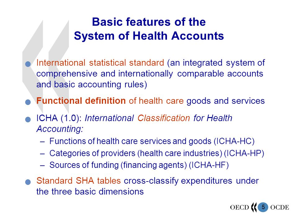 5 Basic features of the System of Health Accounts International statistical standard (an integrated system of comprehensive and internationally comparable accounts and basic accounting rules) Functional definition of health care goods and services ICHA (1.0): International Classification for Health Accounting: –Functions of health care services and goods (ICHA-HC) –Categories of providers (health care industries) (ICHA-HP) –Sources of funding (financing agents) (ICHA-HF) Standard SHA tables cross-classify expenditures under the three basic dimensions