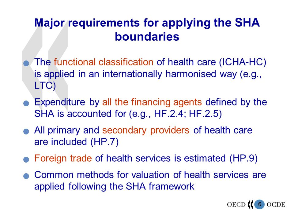 6 Major requirements for a pplying the SHA boundaries The functional classification of health care (ICHA-HC) is applied in an internationally harmonis